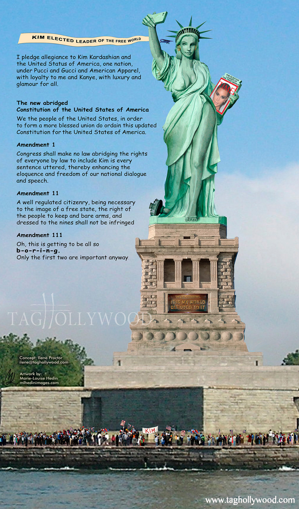 Kim Kardashian Statue Of Liberty and Pledge Of Allegiance